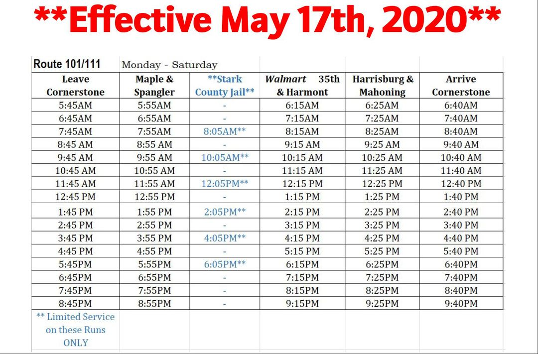Rt. 101/111 Time Table **EFFECTIVE MAY 17th, 2020**