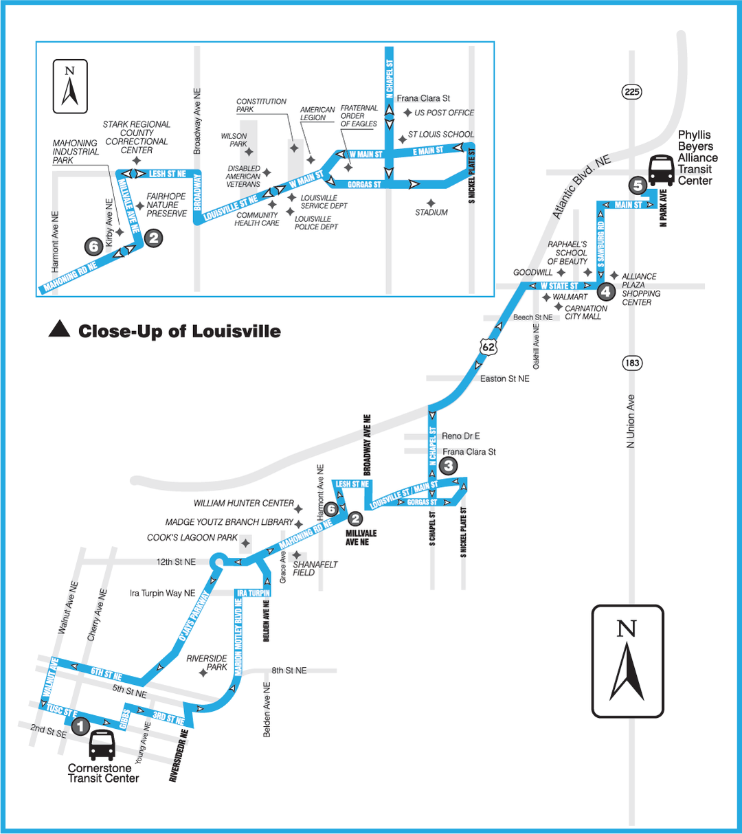 Map showing stops for the route