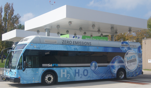 SARTA hydrogen fuel cell bus leaving SARTAs fuel cell station