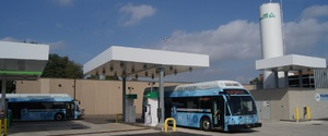 Two SARTA fuel cell buses at SARTA's hydrogen filling station.