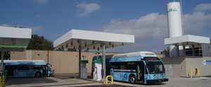 Two of SARTA's hydrogen fuel cell buses at their fueling facility in Canton, OH