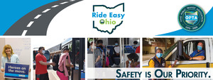 Ride Easy Ohio Banner Image with 4 photos of Riders and Drivers practicing Social Distancing and wearing Masks while riding Public Transport.