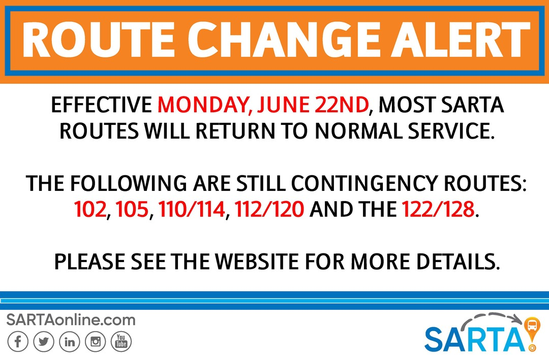 Route Change Alert Graphic: Following are STILL contingency routes - C-102, C-105, C-110/114, C-112/120 and the C-122/128