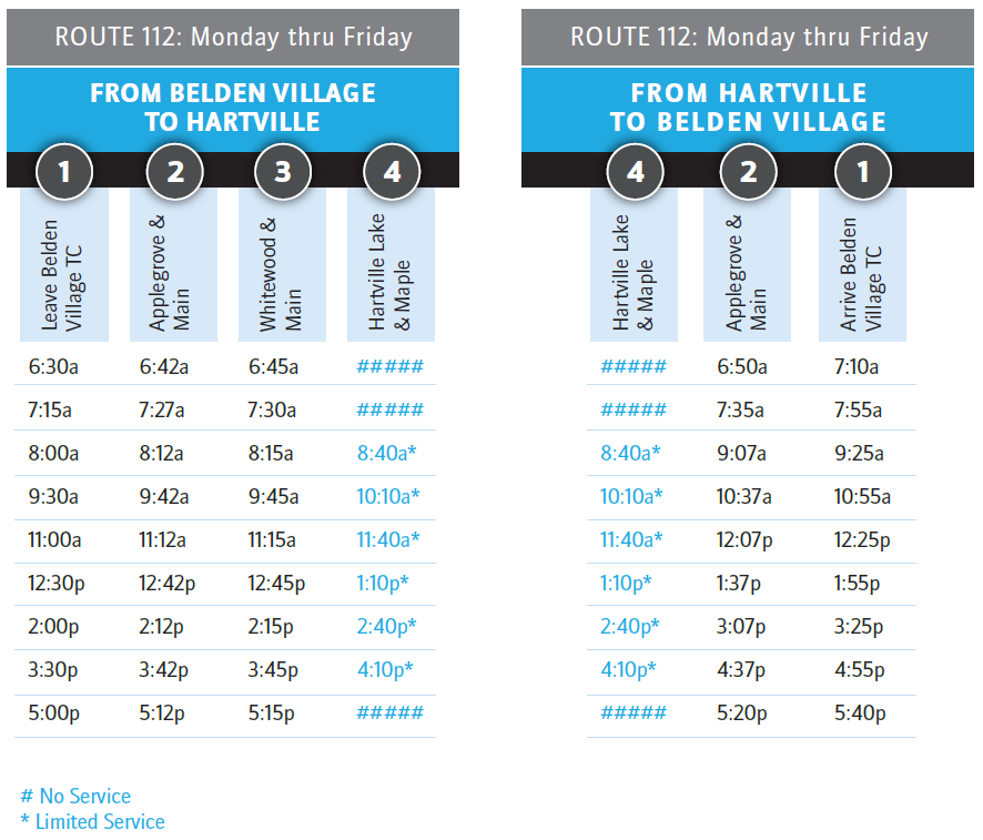 Time table showing stop times and locations for the route